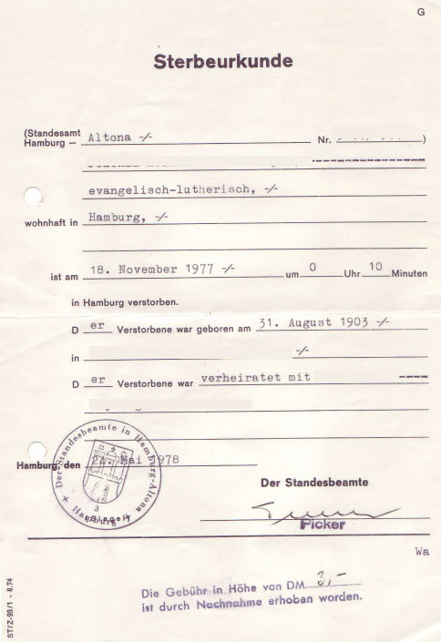 german death certificates from germany. Black Bedroom Furniture Sets. Home Design Ideas